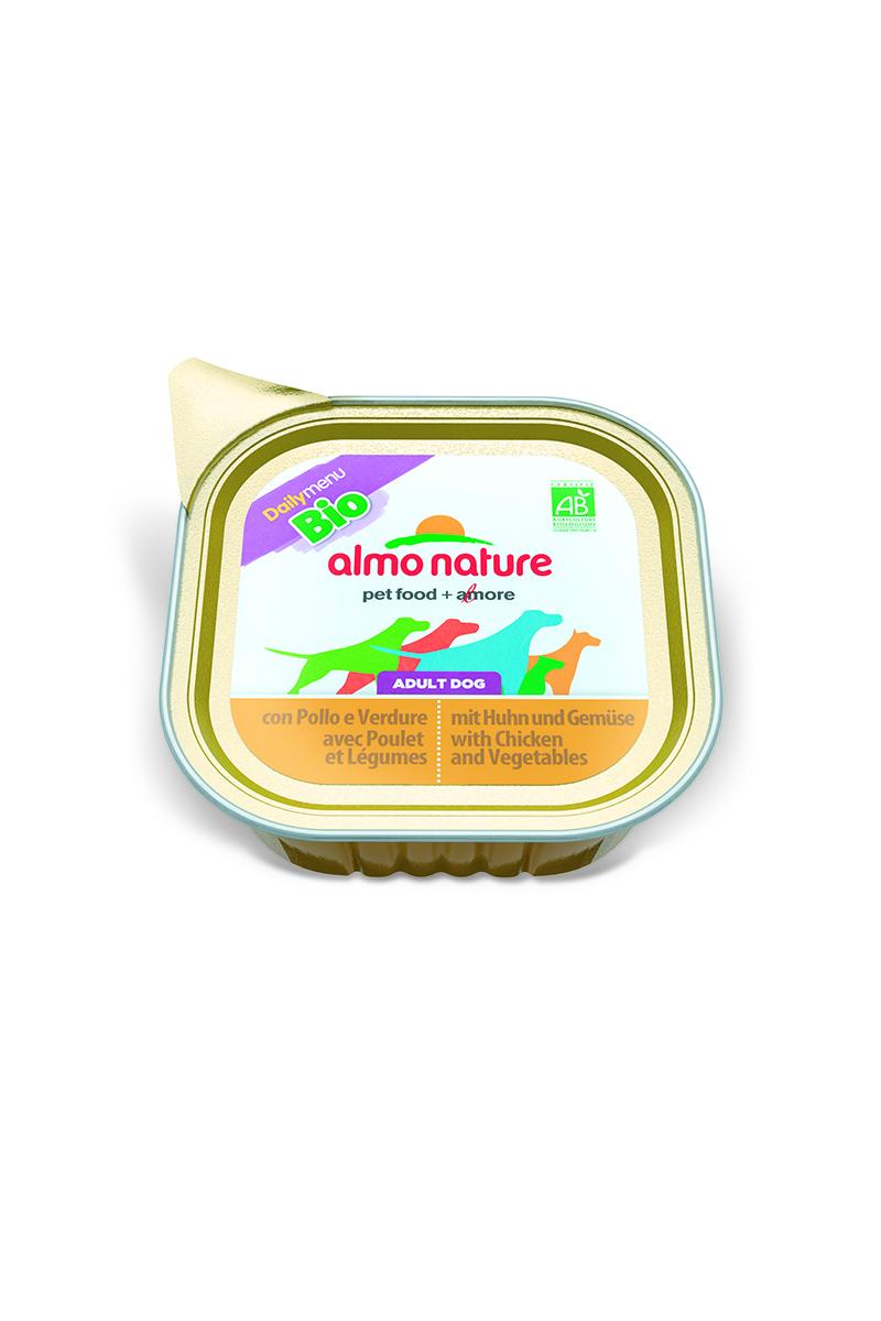 Паштет для собак Almo Nature Daily Menu. Bio, с курицей и овощами, 100 г10169Паштет для собак Almo Nature Daily Menu. Bio изготовлены из отборных, гипоаллергенных и легко усвояемых ингредиентов. Содержат питательные, высококачественные продукты: подлинное мясо свободного выгула - без гормонов и антибиотиков, а также овощи, произрастающие в экологически чистых условиях без использования пестицидов и химических веществ.Состав: мясо и его производные, овощи – 5%, минеральные вещества, витамин Е – 16 мг/кг.Гарантированный анализ: белки – 9%, клетчатка – 0,3%, жиры – 6%, зола – 2%, влажность – 81%.Товар сертифицирован.