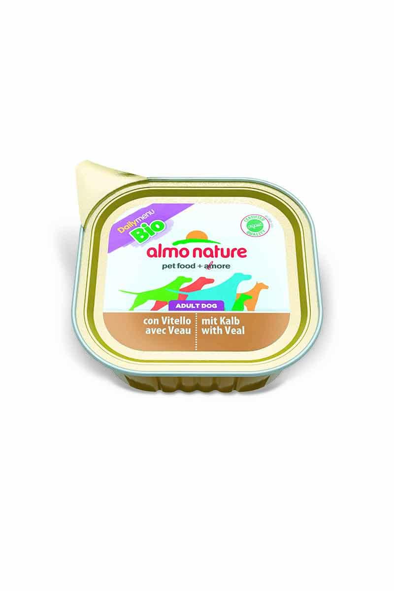 Паштет для собак Almo Nature Daily Menu. Bio, с телятиной, 100 г10172Паштет для собак Almo Nature Daily Menu. Bio изготовлены из отборных, гипоаллергенных и легко усвояемых ингредиентов. Содержат питательные, высококачественные продукты: подлинное мясо свободного выгула - без гормонов и антибиотиков.Состав: мясо и его производные, минеральные вещества, витамин Е – 15мг/кг, витамин D – 15 мкл/кг.Гарантированный анализ: Белки – 10%, Клетчатка – 0,3%, Жиры – 5%, Зола – 2%, Влажность – 82%.Товар сертифицирован.