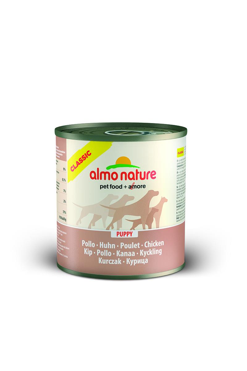 Консервы для щенков Almo Nature Classic, с курицей, 280 г10178Консервы Almo Nature Classic - сбалансированный влажный корм для щенков, изготовленный изингредиентов высшего качества, являющихся натуральными источниками витаминов ипитательных веществ. Состав: мясо курицы – 45%, куриный бульон – 31%, рис – 6%.Гарантированный анализ: белки – 9%, клетчатка – 0,1%, жиры – 7%, зола – 2%, влажность –77%.Калорийность - 910 ккал/кг.Товар сертифицирован.