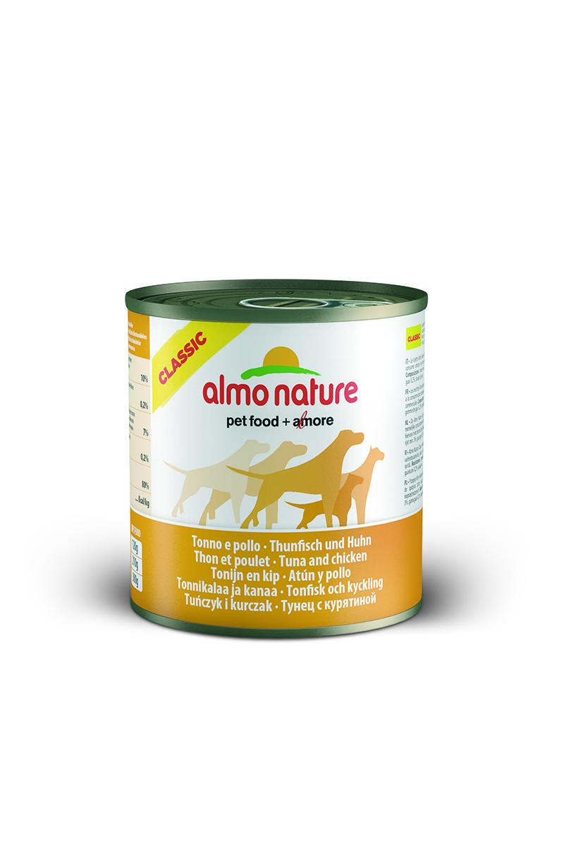 Консервы для собак Almo Nature Classic, с тунцом и курицей, 290 г10182Консервы Almo Nature Classic - сбалансированный влажный корм для собак, изготовленный из ингредиентов высшего качества, являющихся натуральными источниками витаминов и питательных веществ. Состав: филе из тунца – 25% мин., куриное филе – 25% мин., рис – 3% мин., гуаровая камедь – 0,2%, бульон из тунца.Гарантированный анализ: белки – 10%, клетчатка – 0,2%, жиры – 7%, зола – 0,5%, влажность – 80%.Калорийность: 532 ккал/кг.Товар сертифицирован.