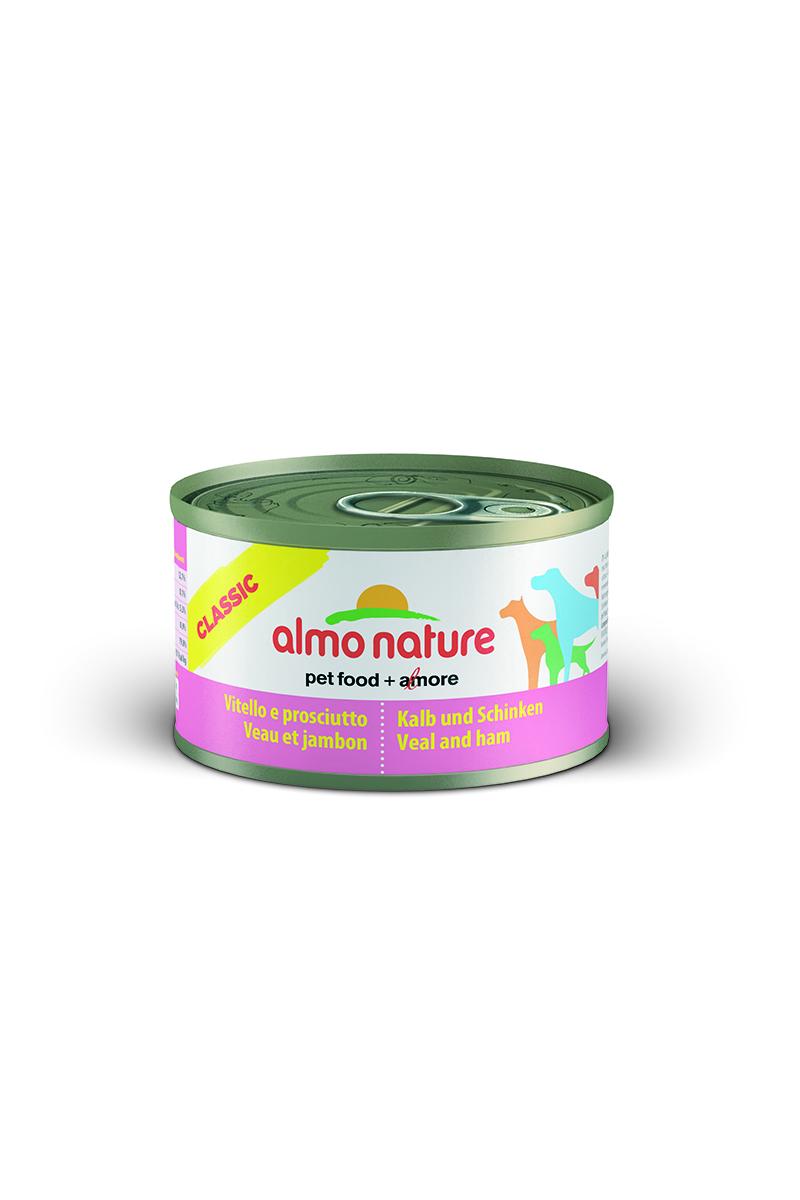 Консервы для собак Almo Nature Classic, с телятиной и ветчиной, 95 г10191Консервы Almo Nature Classic - сбалансированный влажный корм для собак, изготовленный из ингредиентов высшего качества, являющихся натуральными источниками витаминов и питательных веществ. Состав: вырезка телятины - 45% мин., ветчина - 5% мин., рис - 3% мин., гуаровая камедь - 0,2%, телячий бульон.Гарантированный анализ: белки - 12%, клетчатка - 0,2%, жиры - 9%, зола - 0,5%, влажность - 76%.Калорийность - 1500 ккал/кг.Товар сертифицирован.