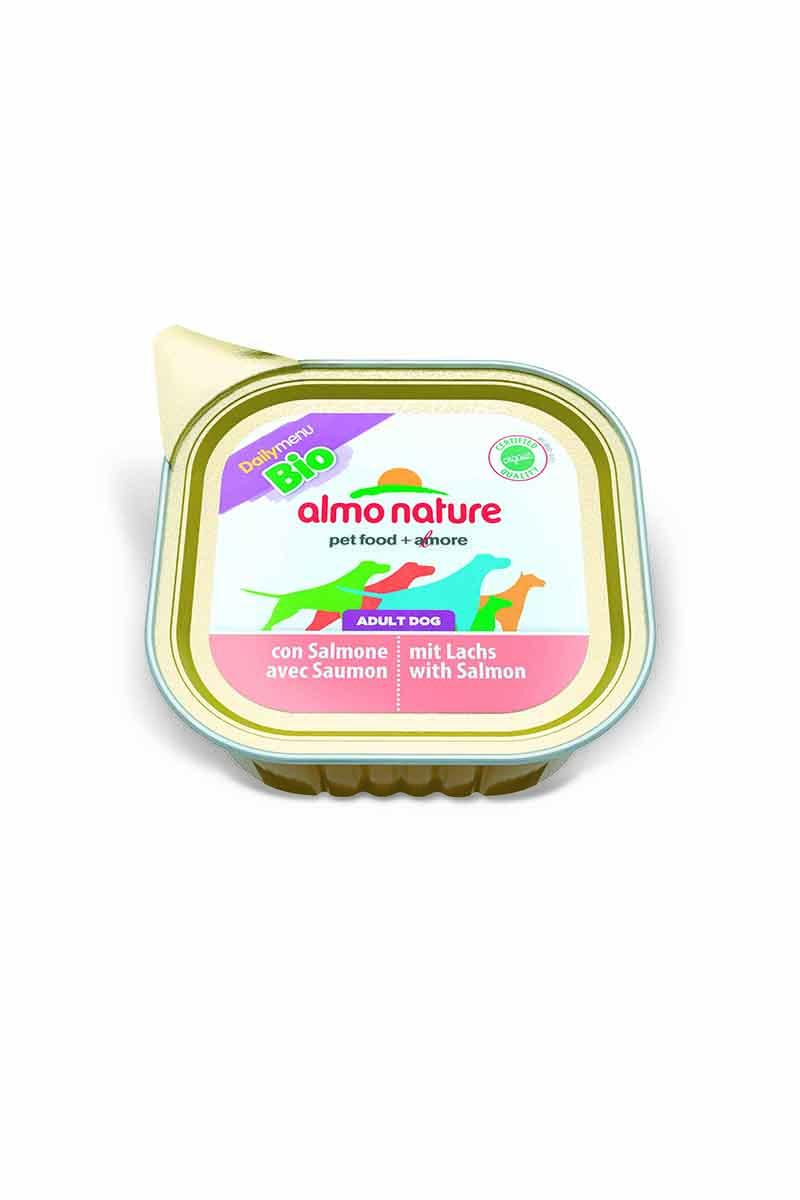 Консервы для собак Almo Nature Daily Menu. Bio, паштет, с лососем, 100 г10214Консервы Almo Nature Daily Menu - сбалансированный влажный корм для собак, изготовленный из ингредиентов высшего качества, являющихся натуральными источниками витаминов ипитательных веществ. Состав: рыба и ее производные 100% органический продукт (30% мяса лосося), мясо и его производные 100% органический продукт (30% мяса), минералы. Добавки : витамин Е 20мг/кг, медь (сульфат меди) 1мг/кг, цинк (оксид цинка) 20 мг/кг.Пищевая ценность: белки 9,5%, клетчатка 0%, жиры 6,0%, зола 2,2%, влажность 82%. Товар сертифицирован.