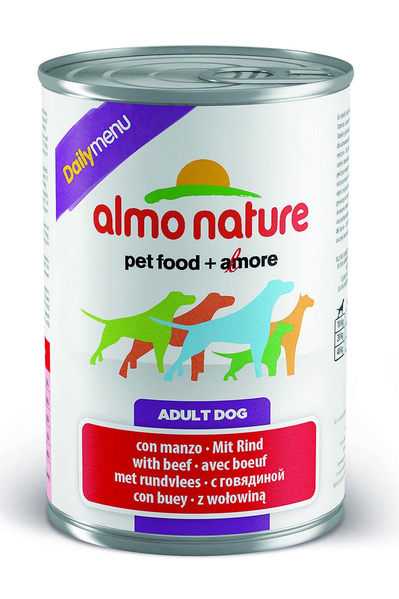 Консервы для собак Almo Nature Daily Menu, с говядиной, 400 г10226Консервы Almo Nature Daily Menu - сбалансированный влажный корм для собак, изготовленный из ингредиентов высшего качества, являющихся натуральными источниками витаминов и питательных веществ. Состав: мясо и его производные (говядина), яйца, злаки, минералы.Пищевые добавки: витамин А 1570 МЕ/кг, витамин D3 195 МЕ/кг, витамин Е 15 мг/кг, сульфат меди пентагидрат 7.6 мг/кг (CU1,9 мг/кг), камедь кассии 3000 мг/кг.Гарантированные анализ: белки – 7,5%, клетчатка – 0,5%, жиры – 4,5%, зола – 2%, влага – 81%.Калорийность: 1100 ккал/кг.Товар сертифицирован.