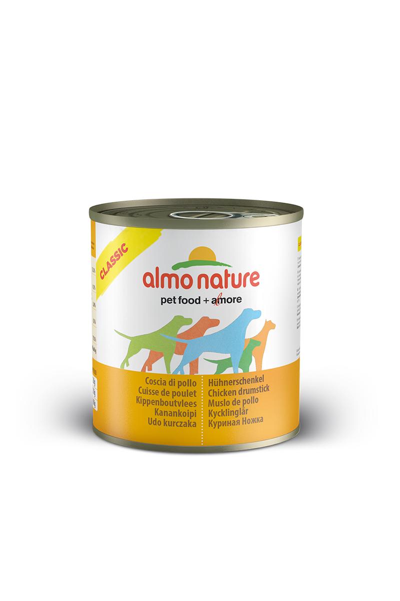 Консервы для собак Almo Nature Classic, куриные бедрышки, 280 г10362Консервы Almo Nature Classic - сбалансированный влажный корм для собак, изготовленный изингредиентов высшего качества, являющихся натуральными источниками витаминов ипитательных веществ. Состав: куриные бедрышки 55%, бульон 42%, рис 3%. Пищевая ценность: белки 13,3%, клетчатка 0,1%, жиры 3,8%, зола 0,5%, влажность 79%. Калорийность: 894 ккал/кг.Товар сертифицирован.