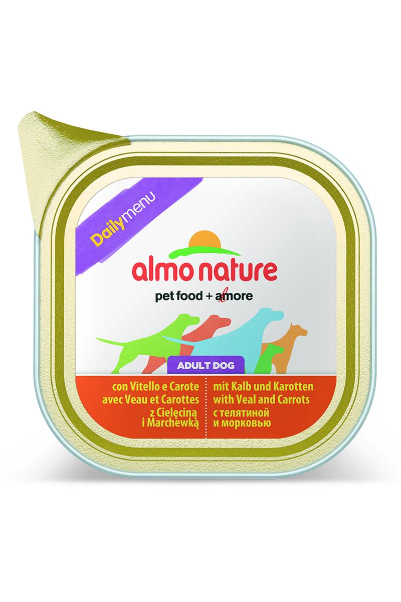 Паштет для собак Almo Nature Daily Menu, с телятиной и морковью, 300 г15275Паштет для собак Almo Nature Daily Menu изготовлены из отборных, гипоаллергенных и легко усвояемых ингредиентов. Содержат питательные, высококачественные продукты: подлинное мясо свободного выгула - без гормонов и антибиотиков, а также овощи и злаки, произрастающие в экологически чистых условиях без использования пестицидов и химических веществ.Товар сертифицирован.