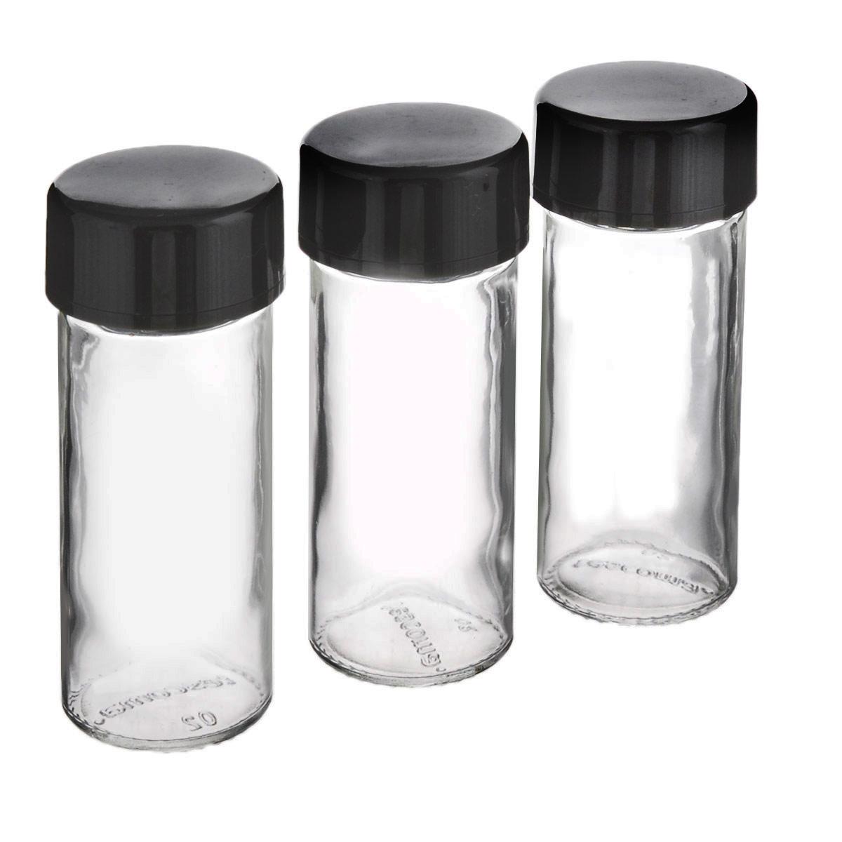 """Емкости для специй Tescoma """"Season"""" предназначены для компактного и организованного хранения специй. Набор состоит из 3 универсальных баночек с крышками для молотых пряностей и 3 запасными колпачками для целых специй.  Изготовлены из термостойкого стекла и высококачественного пластика. Можно мыть в посудомоечной машине. Диаметр баночек: 4 см. Высота баночек: 11 см."""