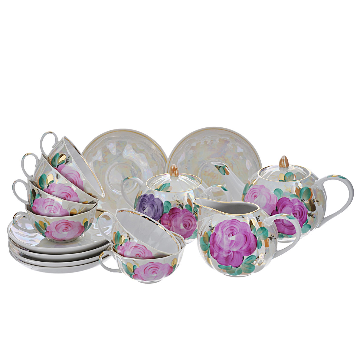 """Сервиз чайный """"Тюльпан свадебный"""" состоит из шести чашек, шести блюдец,  заварочного чайника, молочника и сахарницы, изготовленных из фарфора. Предметы  набора оформлены красочным изображением цветов. Изящный дизайн придется по вкусу и ценителям классики, и тем, кто предпочитает  утонченность и изысканность. Он настроит на позитивный лад и подарит хорошее  настроение с самого утра. Сервиз чайный - идеальный и необходимый подарок  для вашего дома и для ваших друзей в праздники, юбилеи и торжества! Он также  станет отличным корпоративным подарком и украшением любой кухни.  Количество чашек: 6 шт.  Диаметр чашек по верхнему краю: 9,5 см. Высота чашек: 5 см. Количество блюдец: 6 шт. Диаметр блюдец: 15 см. Высота блюдец: 2,5 см. Высота сахарницы (с учетом крышки): 12 см. Диаметр сахарницы по верхнему краю: 8 см.  Высота чайника (с учетом крышки): 12 см. Диаметр чайника по верхнему краю: 7 см.  Высота молочника: 9 см.  Размер молочника по верхнему краю (с учетом носика): 9 см х 5 см."""