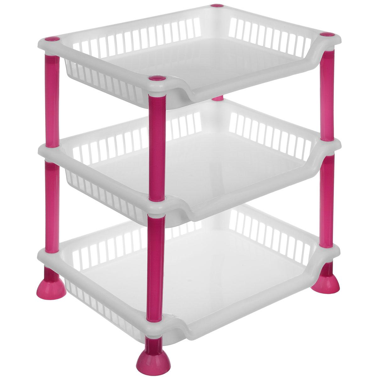 Этажерка Sima-land, 3-секционная, цвет: белый, малиновый, 29 х 21,5 х 33 см799887_белый, малиновыйЭтажерка Sima-land выполнена из высококачественного прочного пластика и предназначена для хранения различных предметов. Изделие имеет 3полки прямоугольной формы. В ванной комнате вы можете использовать этажерку для хранения шампуней, гелей, жидкого мыла, стиральных порошков, полотенец. Ручной инструмент и детали в вашем гараже всегда будут под рукой. Удобно ставить банки с краской, бутылки с растворителем. В гостиной этажерка позволит удобно хранить под рукой книги, журналы, газеты. С помощью этажерки также легко навести порядок в детской, она позволит удобно и компактно хранить игрушки, письменные принадлежности и учебники. Этажерка - это идеальное решение для любого помещения. Она поможет поддерживать чистоту, компактно организовать пространство и хранить вещи в порядке, а стильный дизайн сделает этажерку ярким украшением интерьера.Размер этажерки: 29 х 21,5 х 33 см. Размер полки: 29 х 21,5 х 4,5 см.