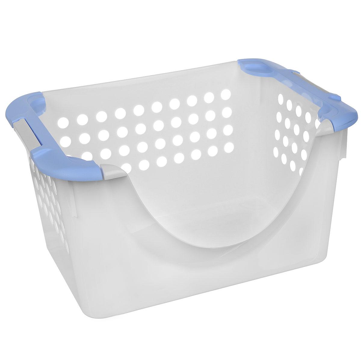 Корзинка универсальная Econova, с ручками, цвет: белый, голубой, 30 х 22 х 43 см780869_белый, голубойУниверсальная корзина Econova, выполненная из прочного пластика, предназначена для хранения вещей в ванной, на кухне, даче или гараже. Позволяет хранить вещи, исключая возможность их потери. Корзина оснащена двумя удобными ручками для переноски. Боковые стенки перфорированы.