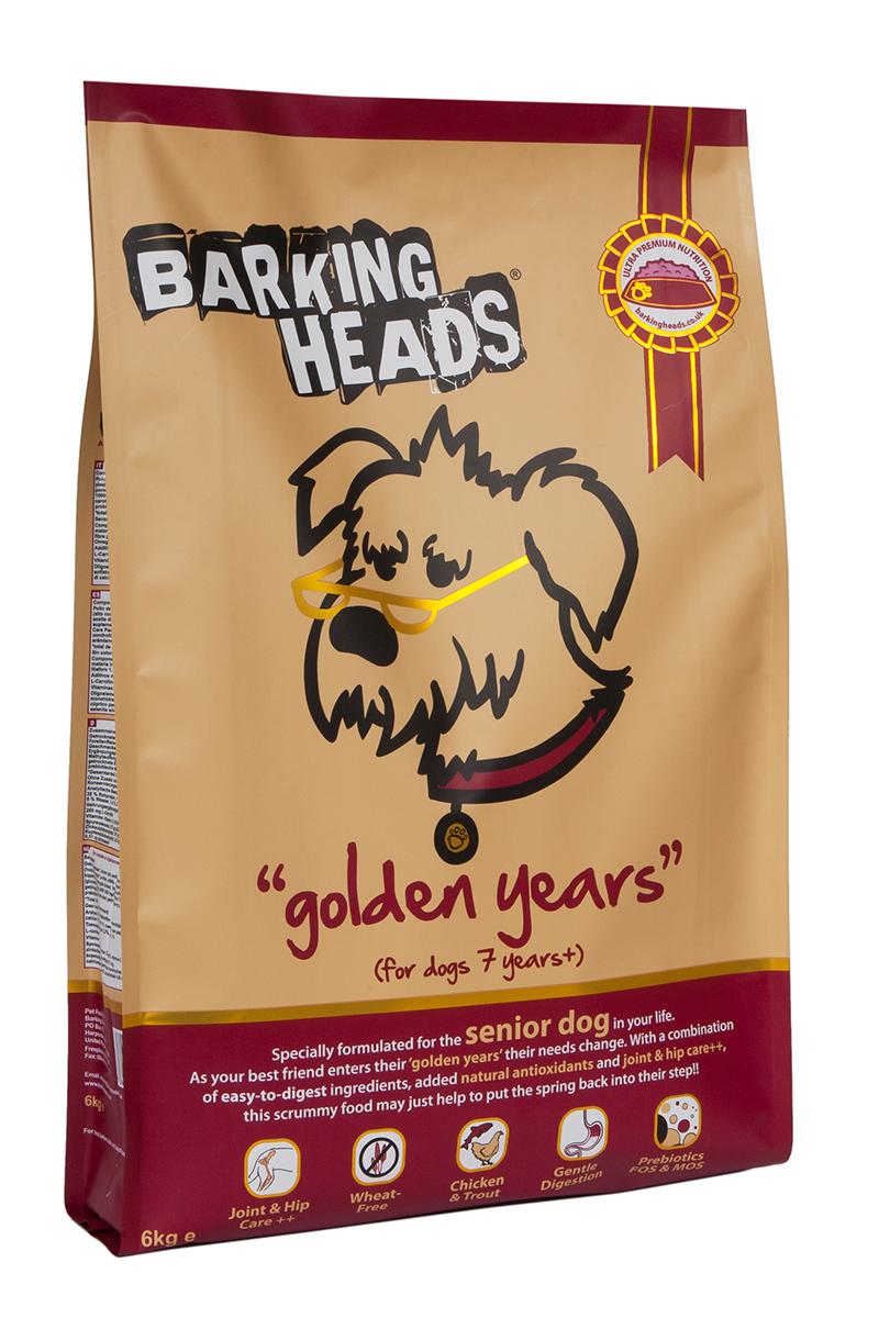Корм сухой Barking Heads Золотые годы, для собак старше 7 лет, с курицей и рисом, 6 кг18134Сухой корм Barking Heads - вкуснейший полнорационный корм для собак, специально разработанный, чтобы держать наших любимцев в наилучшей форме! Натуральные ингредиенты непременно понравятся вашему питомцу.Состав: сушеное куриное мясо 27%, коричневый рис, картофель, ячмень, овес, свежеприготовленная форель 7%, горох, люцерна, куриный бульон 3%, лососевый жир 2%, куриный жир, 1%, морские водоросли, сушеный томат, экстра-забота о бедрах и суставах (глюкозамин 1000 мг/кг, МСМ 1000 мг/кг, хондроитин 700 мг/кг), сушеная морковь, сушеное яблоко, сушеная клюква, пребиотик МОС, пребиотик ФОС.Гарантированный анализ (%): белок 25%, содержание жира 11%, клетчатка 3,7%, зола 8,5%, влага 8%, Омега-6 2%, Омега-3 1%.Витамины (на кг): витамин А 16,650 МЕ, витамин D3 1480 МЕ, витамин Е 460 МЕ.Комплекс микроэлементов (на кг): моногидрат сульфата железа 617 мг, моногидрат сульфата цинка 514 мг, моногидрат сульфата марганца 101 мг, пентагидрат сульфата меди 37 мг, безводный йодат кальция 4,55 мг, селенит натрия 0,51 мг.Товар сертифицирован.