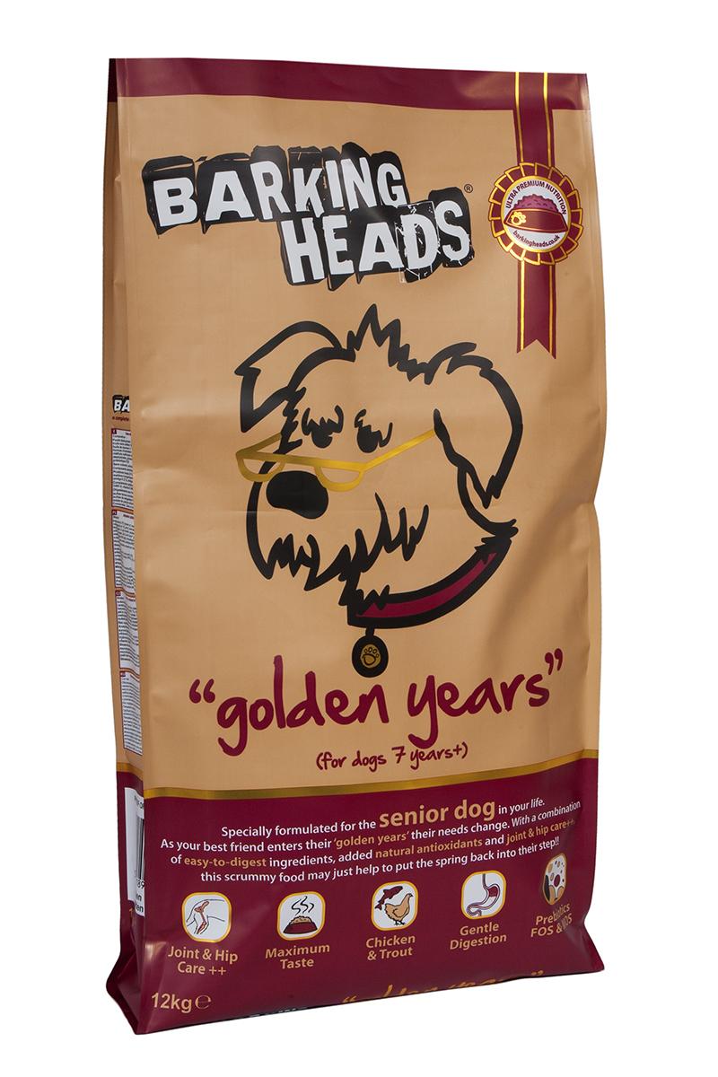 Корм сухой Barking Heads Золотые годы, для собак старше 7 лет, с курицей и рисом, 12 кг18135Сухой корм Barking Heads - вкуснейший полнорационный корм для собак, специально разработанный, чтобы держать наших любимцев в наилучшей форме! Натуральные ингредиенты непременно понравятся вашему питомцу.Состав: сушеное куриное мясо 27%, коричневый рис, картофель, ячмень, овес, свежеприготовленная форель 7%, горох, люцерна, куриный бульон 3%, лососевый жир 2%, куриный жир, 1%, морские водоросли, сушеный томат, экстра-забота о бедрах и суставах (глюкозамин 1000 мг/кг, МСМ 1000 мг/кг, хондроитин 700 мг/кг), сушеная морковь, сушеное яблоко, сушеная клюква, пребиотик МОС, пребиотик ФОС.Гарантированный анализ (%): белок 25%, содержание жира 11%, клетчатка 3,7%, зола 8,5%, влага 8%, Омега-6 2%, Омега-3 1%.Витамины (на кг): витамин А 16,650 МЕ, витамин D3 1480 МЕ, витамин Е 460 МЕ.Комплекс микроэлементов (на кг): моногидрат сульфата железа 617 мг, моногидрат сульфата цинка 514 мг, моногидрат сульфата марганца 101 мг, пентагидрат сульфата меди 37 мг, безводный йодат кальция 4,55 мг, селенит натрия 0,51 мг.Товар сертифицирован.Чем кормить пожилых собак: советы ветеринара. Статья OZON Гид