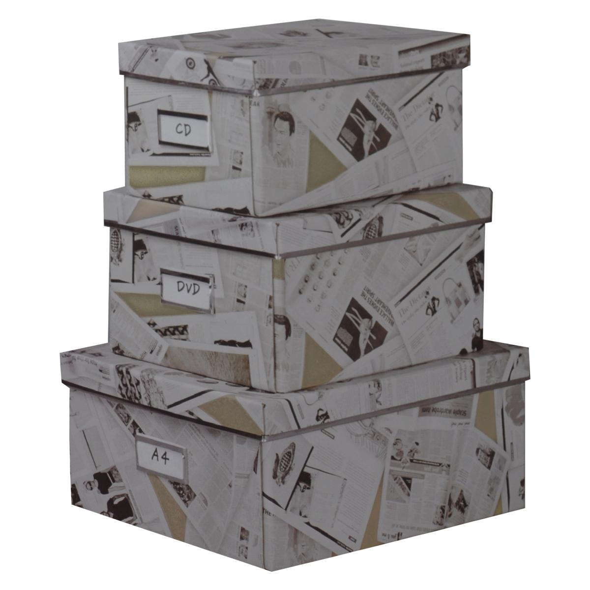 """Кофры для хранения """"Газета"""" прекрасно подойдут для хранения личных вещей, различных аксессуаров, а также бытовых предметов. В комплекте 3 прямоугольных кофра разного размера, с крышками. Изделия выполнены из плотного картона, внешняя поверхность оформлена оригинальным принтом """"газета"""". Каждая из коробок снабжена специальным окошком, куда можно поместить стикер с пометкой содержимого. Эстетичный дизайн позволит набору гармонично вписаться в любой интерьер.Размер малого кофра: 16 см х 28 см х 14 см. Размер среднего кофра: 21 см х 28 см х 15 см. Размер большого кофра: 25 см х 36 см х 15 см."""