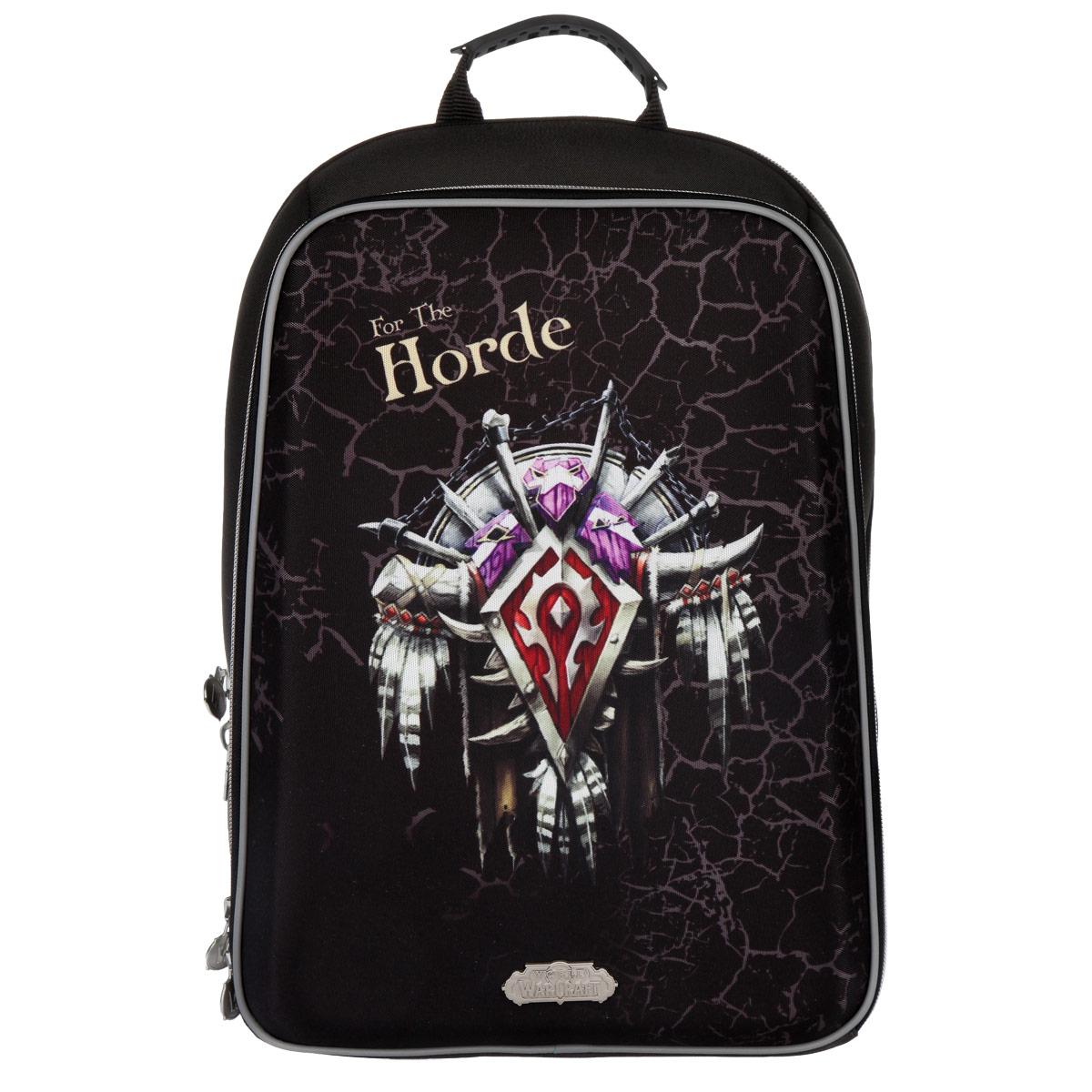 Рюкзак Proff World of Warcraft, жесткая форма, цвет: черныйWC15-HBP-02Рюкзак Proff War Craft выполнен из высококачественного плотного материала и отлично держит форму. Рюкзак содержит одно основное и одно дополнительное отделения. В основном отделении имеется двойной сквозной карман на липучке, подходящий для переноски ноутбука и документов формата А4. Дополнительное отделение содержит карман-сетку на застежке-молнии и большой открытый карман с нашитыми на него маленькими открытыми карманами для различных принадлежностей. Эргономичная конструкция спинки снижает давление и оптимально распределяет нагрузку на позвоночник ребенка, способствуя формированию правильной осанки. Для удобства и комфорта спинка и лямки изделия дополнены эргономичными подушечками и противоскользящей сеточкой с вентиляционными отверстиями.Ранец оснащен текстильной ручкой с резиновой насадкой для удобной переноски в руке. Широкие мягкие лямки регулируются по длине и равномерно распределяют нагрузку на плечевой пояс. Устойчивое дно ранца изготовлено из прочного материала и дополнено пластмассовыми ножками.Светоотражающие элементы обеспечивают дополнительную безопасность в темное время суток.Рекомендуемый возраст: от 7 лет.