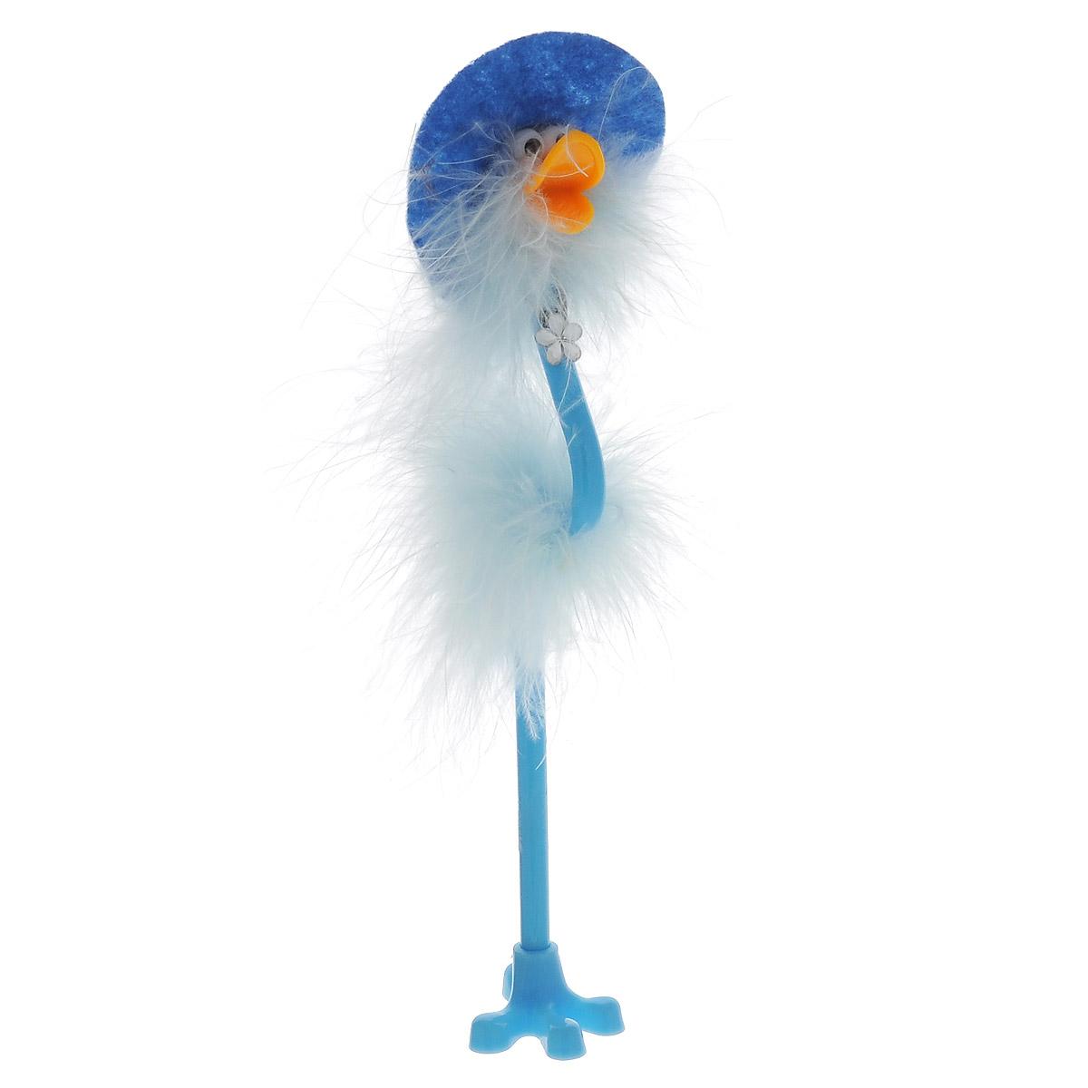 Ручка-игрушка Flamingo, в шляпке, с подставкой, цвет: голубой олег ольхов рыба морепродукты на вашем столе