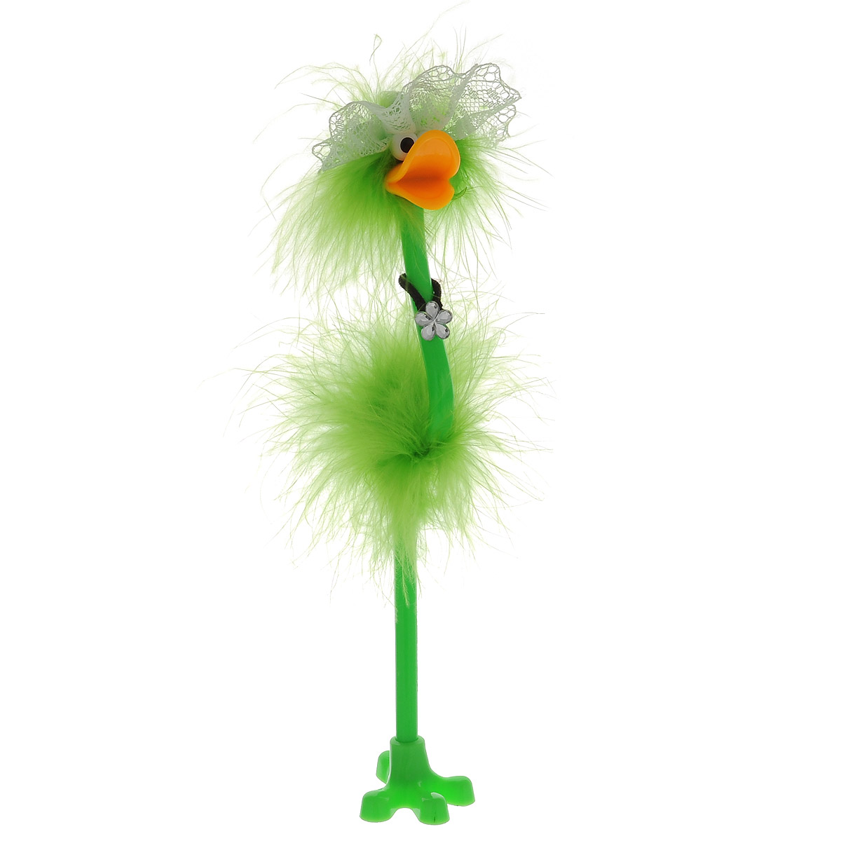 Ручка-игрушка Flamingo, в кружевной шляпке, с подставкой, цвет: салатовый82965_салатовый, шляпкаОригинальная шариковая ручка-игрушка Flamingo станет отличным подарком и незаменимым аксессуаром на вашем рабочем столе. Ручка, украшенная перьями, выполнена в виде забавной птички фламинго в широкополой кружевной шляпке. К ручке прилагается подставка в виде лапки. Такая ручка - это забавный и практичный подарок, она не потеряется среди бумаг и непременно вызовет улыбку окружающих.