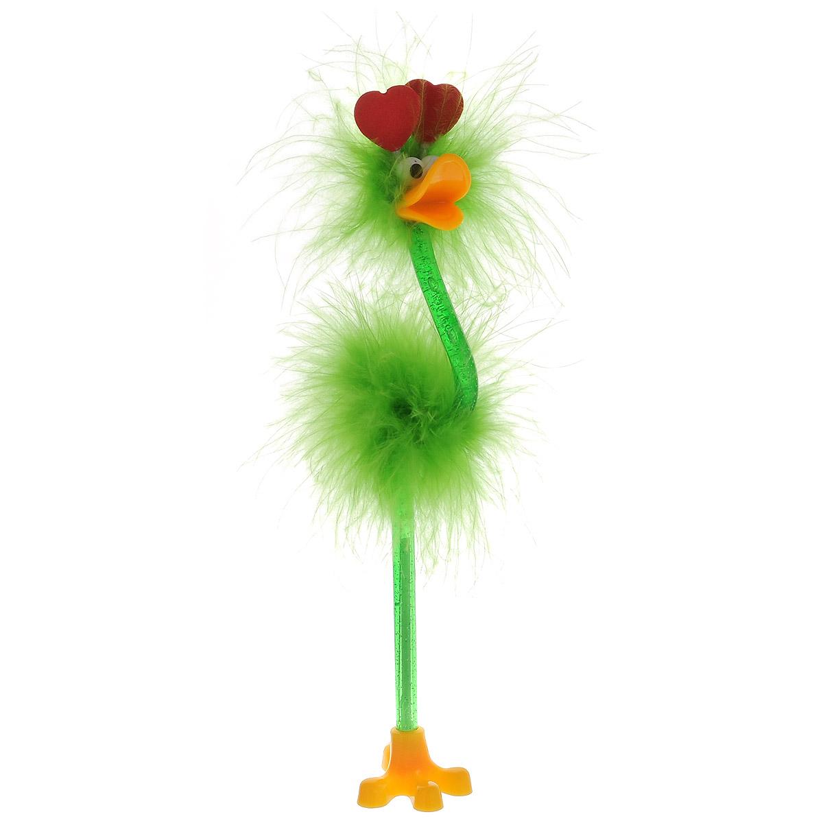 Ручка-игрушка Flamingo, с сердечками, с подставкой, цвет: салатовый82965_салатовый, сердцеОригинальная шариковая ручка-игрушка Flamingo станет отличным подарком и незаменимым аксессуаром на вашем рабочем столе. Ручка, украшенная перьями, выполнена в виде забавной птички фламинго с антеннами-сердечками. К ручке прилагается подставка в виде лапки.Такая ручка - это забавный и практичный подарок, она не потеряется среди бумаг и непременно вызовет улыбку окружающих.