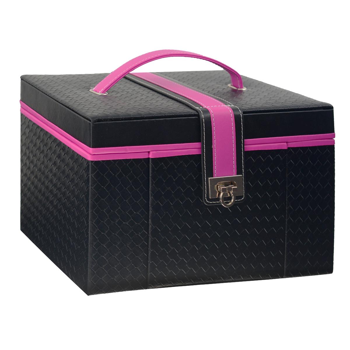 Шкатулка для украшений Graceful, цвет: черный, розовыйJB-02033Прямоугольная шкатулка для украшений выполнена в виде сундучка из искусственной кожи с рельефной поверхностью. Внутренняя поверхность шкатулки отделана бархатом. На внутренней стороне крышки имеется зеркальце, пришивной карман на резинке и четыре ремешка на кнопке. Шкатулка закрывается на ремень с застежкой, крышка оснащена ручкой для удобной переноски изделия. Основное отделение шкатулки содержит две больших секции для цепочек и браслетов, одна из которых оснащена крышкой. Продолговатые валики используются под кольца и серьги. Мини-шкатулка с двумя средними секциями и валиками предназначена для хранения небольших украшений. Специальное боковое отделение содержит съемную двустороннюю секцию с двумя кармашками, четырьмя крючками и ремнем на кнопке. Кроме того, шкатулка оснащена двумя выдвижными ящичками с большими секциями для хранения более крупных украшений.Великолепная шкатулка не оставит равнодушной ни одну любительницу изысканных вещей. Сочетание оригинального дизайна и функциональности сделает такую шкатулку практичным и стильным подарком и предметом гордости ее обладательницы.