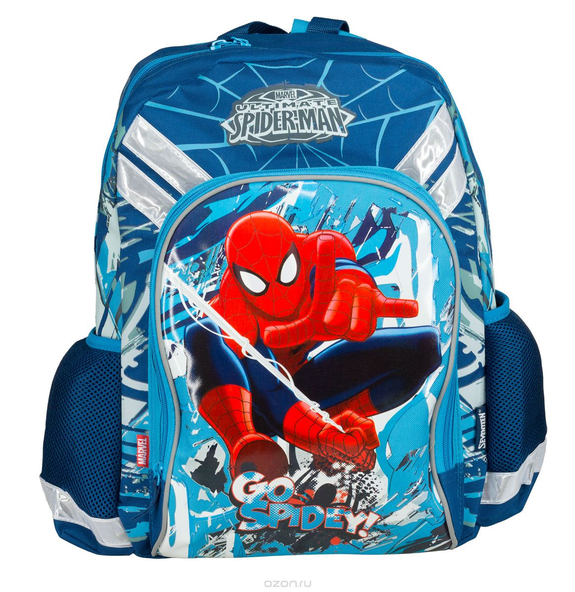 Рюкзак школьный Kinderline Spider-man Classic, цвет: синий, красный, белый. SMCB-MT1-988MSMCB-MT1-988MРюкзак школьный Kinderline Spider-man Classic выполнен из износоустойчивых материалов с водонепроницаемой основой, декорирован яркой аппликацией. Рюкзак имеет одно основное отделение, закрывающееся на молнию с двумя бегунками. Внутри отделения расположены два разделителя с утягивающей резинкой для тетрадей и учебников. На лицевой стороне ранца расположен накладной карман на молнии. По бокам ранца размещены два дополнительных накладных открытых кармана.Уплотненная спинка равномерно распределяет нагрузку на плечевые суставы и спину. Удлиненные держатели облегчают фиксацию длины ремней с мягкими подкладками. Ранец оснащен удобной ручкой для переноски и двумя широкими лямками, регулируемой длины. Многофункциональный школьный ранец станет незаменимым спутником вашего ребенка в походах за знаниями.