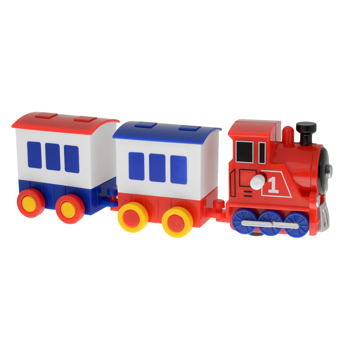 Игрушка заводная Hans Паровоз с вагонами, цвет паровоза: красный ключ hans 1161m38