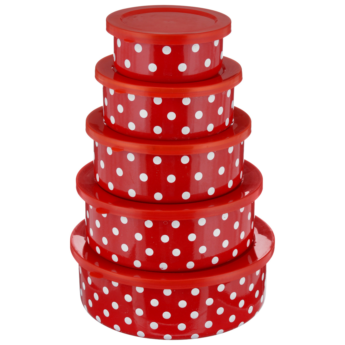 Набор мисок Mayer & Boch, 10 предметов, цвет: красный, белый набор мисок mayer