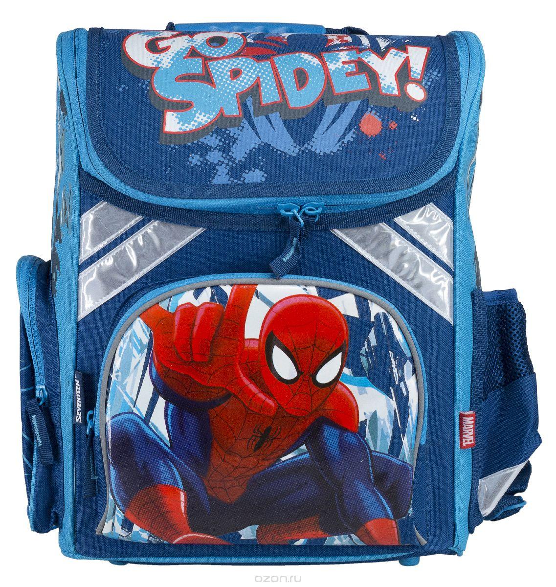 Ранец школьный Kinderline Spider-man Classic, цвет: синий, белый, красныйSMCB-MT1-113Ранец школьный Kinderline Spider-man Classic выполнен из современного легкого и прочного материала синего цвета с яркой аппликацией. Ранец имеет одно основное отделение, закрывающееся на молнию с двумя бегунками. Внутри главного отделения расположен врезной карман на змейке и два разделителя с утягивающей резинкой, предназначенные для размещения предметов без сложения, размером до формата А4 включительно. На лицевой стороне ранца расположен накладной карман на молнии. По бокам ранца размещены два дополнительных накладных кармана, один на молнии, и один открытый. Ортопедическая спинка, созданная по специальной технологии из дышащего материала, равномерно распределяет нагрузку на плечевые суставы и спину. Удлиненные держатели облегчают фиксацию длины ремней с мягкими подкладками. Ранец оснащен удобной ручкой для переноски и двумя широкими лямками, регулируемой длины. Дно ранца дополнено пластиковыми ножками. Многофункциональный школьный ранец станет незаменимым спутником вашего ребенка в походах за знаниями.