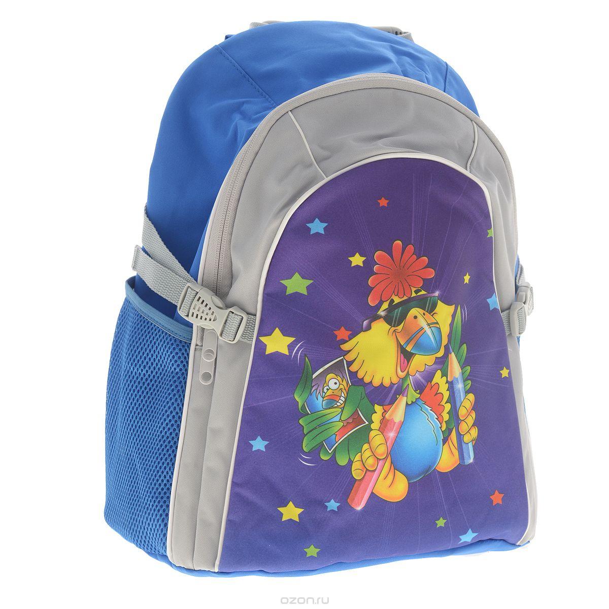 Рюкзак детский Tiger Family Joyful Birdie, цвет: синий, серый2919/TGСтильный школьный рюкзак Joyful Birdie небольшого размера - это красивый и удобный ранец, который подойдет всем, кто хочет разнообразить свои школьные будни. Благодаря анатомической спинке, повторяющей контур спины и двум эргономичным плечевым ремням, длина которых регулируется, у ребенка не возникнут проблемы с позвоночником. Ранец, выполненный из антибактериального, водоотталкивающего и не выгорающего на солнце материала, оформлен изображением забавной птички. Ранец состоит из одного основного отделения, закрывающегося на застежку-молнию. Внутри - накладной открытый карман. По бокам рюкзак имеет два сетчатых кармана. Также есть текстильная ручка, с прорезиненной вставкой, для удобной переноски и ограничители объема.
