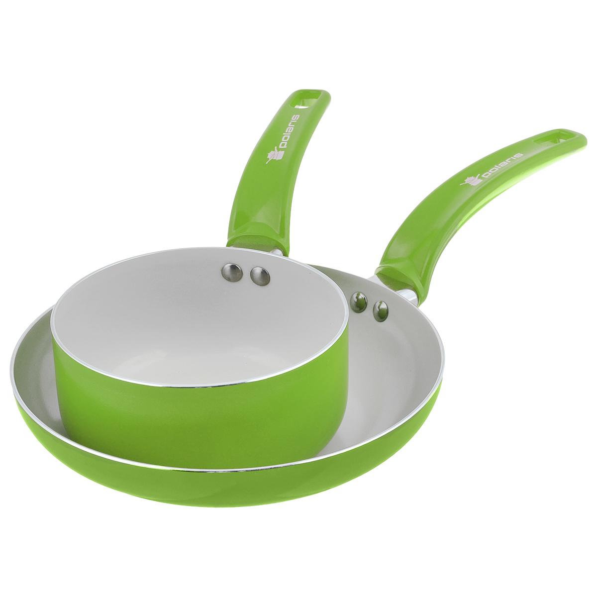 Набор посуды Polaris Rainbow, с керамическим покрытием, цвет: салатовый, 2 предметаRain-1624SPFНабор посуды Polaris Rainbow состоит из сковороды и ковша. Изделия выполнены из алюминия с керамическим антипригарным покрытием. Покрытие экологично, не содержит примеси PFOA и PTFE. Эргономичная ручка из бакелита не нагревается в процессе эксплуатации. Изделия подходят для всех типов плит, кроме индукционных. Можно мыть в посудомоечной машине. Диаметр сковороды (по верхнему краю): 24 см. Диаметр ковша (по верхнему краю): 16 см. Высота стенки сковороды: 4,5 см. Высота стенки ковша: 7,5 см. Длина ручки сковороды: 19 см. Длина ручки ковша: 16 см. Толщина стенки: 2,5 мм. Толщина дна: 3 мм.