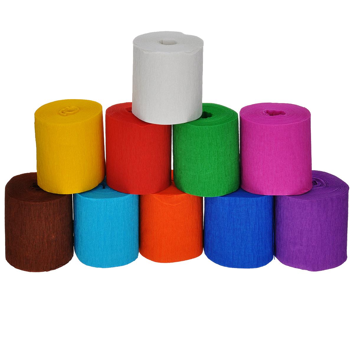 Креп-бумага Folia, 5 х 10 м, 10 рулонов7708086Креп-бумага Folia - отличный материал для изготовления искусственных цветов, оформления букетов, упаковки подарков, украшения помещений. Неводостойкая - может краситься. Крепированная или креп бумага - бумага мелкого гофрирования, она бархатистая на ощупь, значительно мягче и нежнее, чем обычная гофрированная бумага. Такая бумага является прекрасным поделочным материалом. Ширина: 5 см. Длина одного рулона: 10 м. Комплектация: 10 рулонов.