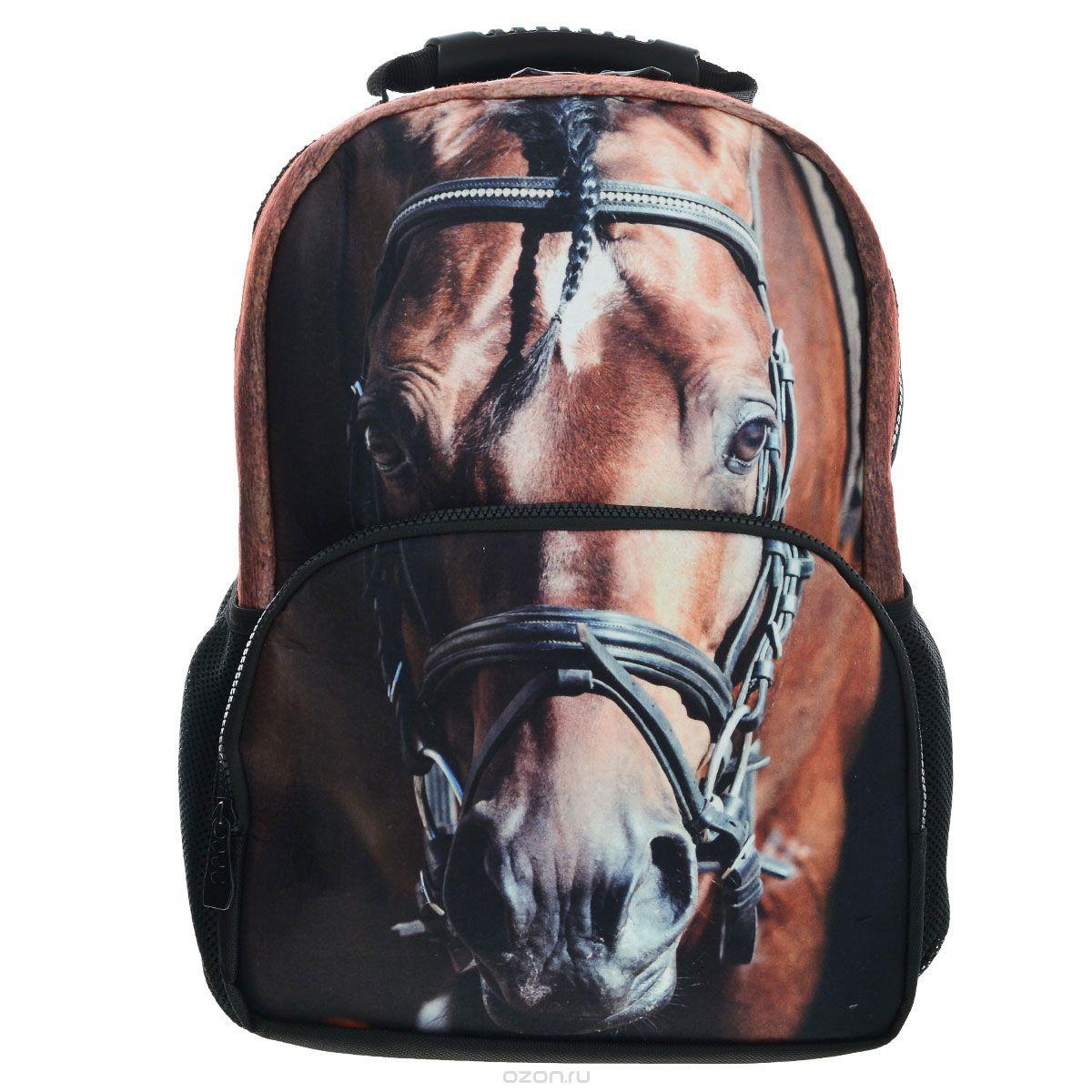Рюкзак школьный Trend Line Horse, цвет: черный. NR_00058NR_00058Стильный школьный рюкзак Trend Line выполнен из полиэстера, дополнен вставкой из флиса, которая оформлена художественной печатью с изображением Horse. Рюкзак имеет одно основное отделение, закрывающееся на застежку-молнию. Снаружи, на лицевой стороне, рюкзака размещен накладной карман на молнии, внутри которого предусмотрен еще один накладной карман на липучке. С двух сторон изделия расположены два накладных сетчатых кармашка. В верхней части изделия предусмотрена эргономичная ручка для переноски, а также предусмотрены регулируемые лямки.Такой рюкзак станет незаменимым спутником вашего ребенка в походах за знаниями.