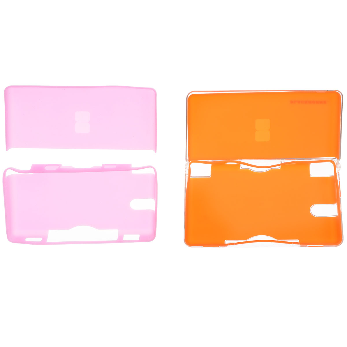 Пластиковый корпус Black Horns с двумя комплектами силиконовых вклдышей для DS Lite (розовый, оранжевый)