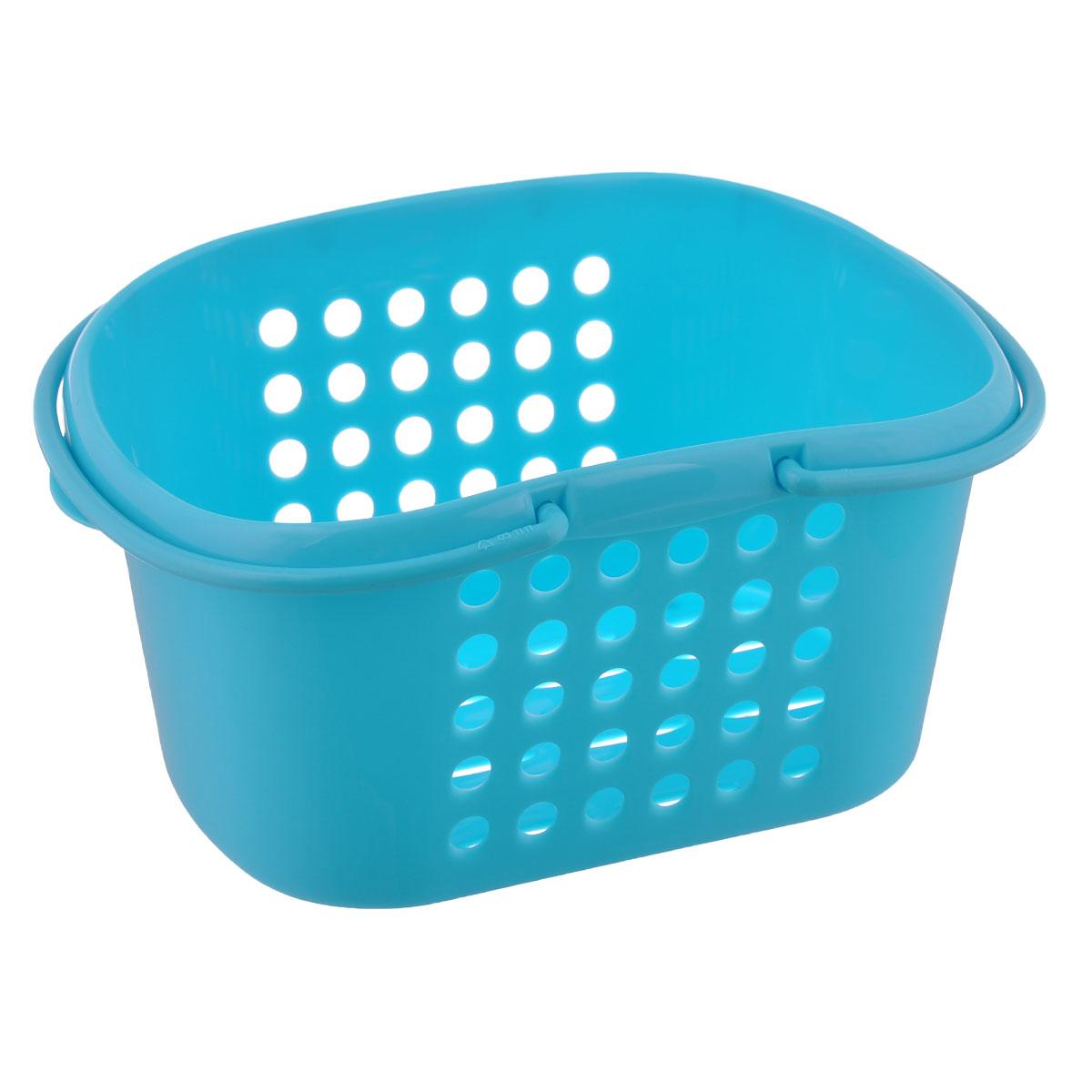 Корзинка универсальная Econova, с ручками, цвет: голубой, 23 х 17,3 х 11,5 см корзинка универсальная econova с ручками цвет красный 19 х 18 5 х 23 см