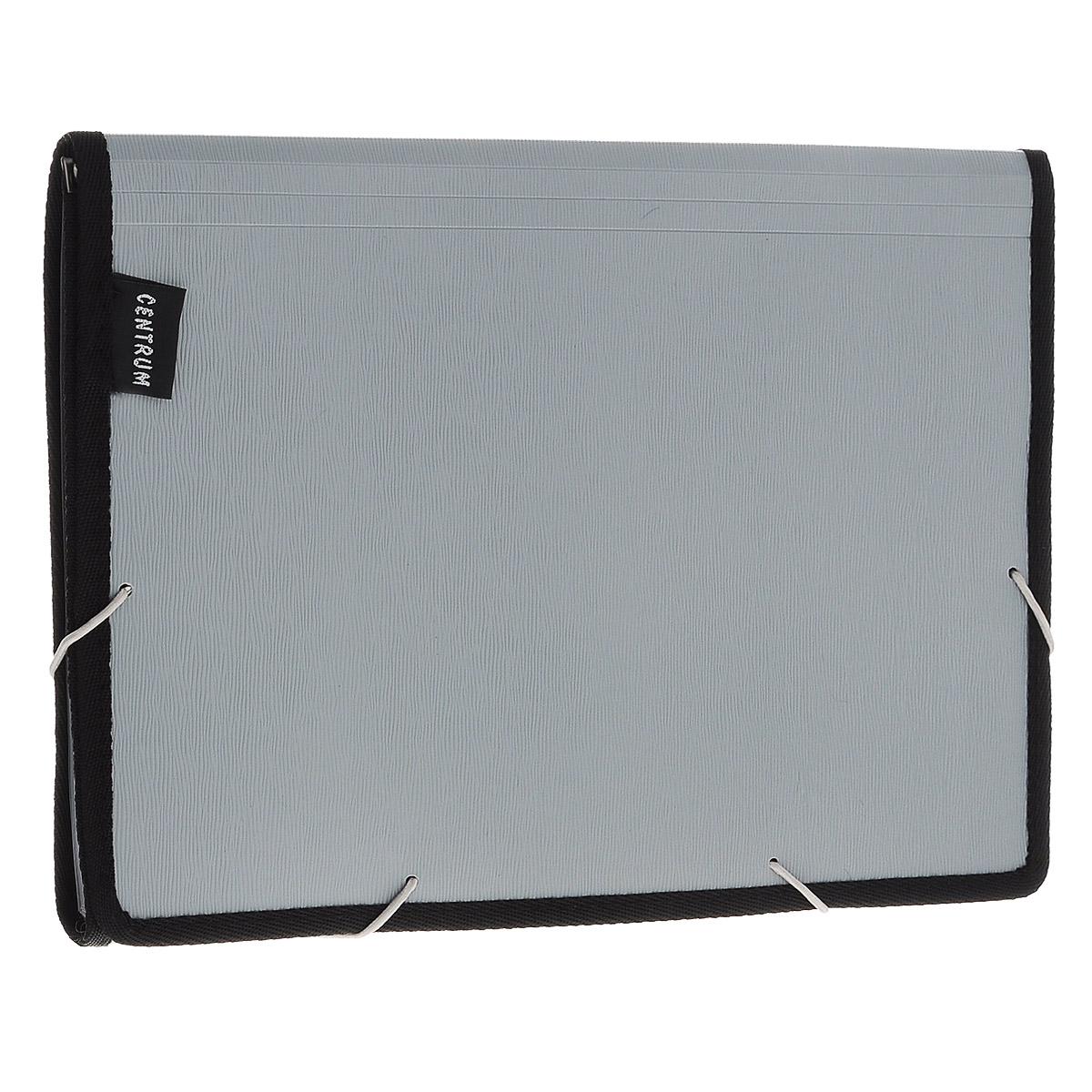 Папка-портфель  Centrum , 13 отделений, на резинке, цвет: серый, черный -  Папки