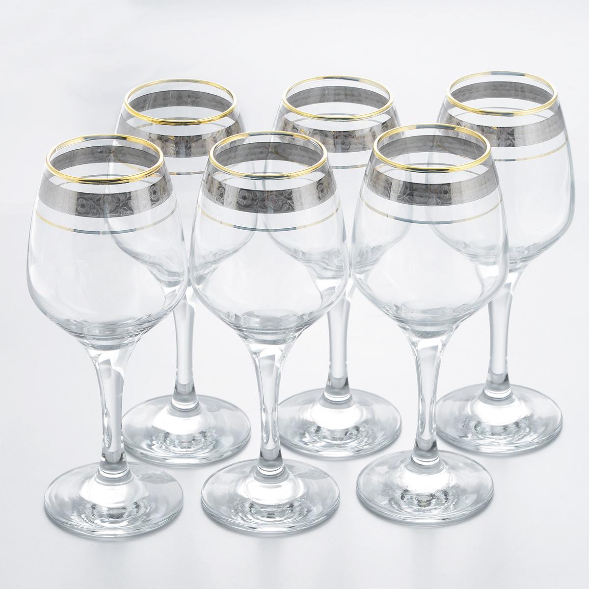 Набор фужеров Гусь Хрустальный Изабелла. Флорис, 375 мл, 6 штTL32-4171Набор Гусь Хрустальный Изабелла. Флорис состоит из шести фужеров, выполненных из прочного натрий-кальций-силикатного стекла и предназначенных для подачи игристых вин. Изящные фужеры на высоких ножках, декорированные золотистым орнаментом и окантовкой, излучают приятный блеск и издают мелодичный звон. Сочетают в себе элегантный дизайн и функциональность. Набор фужеров Гусь Хрустальный Изабелла. Флорис прекрасно оформит праздничный стол и создаст приятную атмосферу за романтическим ужином. Такой набор также станет хорошим подарком к любому случаю. Можно мыть в посудомоечной машине или вручную с использованием моющих средств, не содержащих абразивных материалов.Диаметр фужера (по верхнему краю): 6 см. Высота фужера: 20 см. Диаметр основания фужера: 7,5 см.