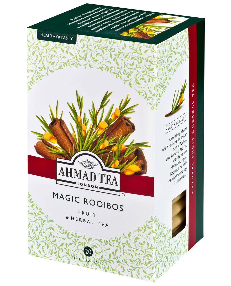 Ahmad Tea Magic Rooibos травяной чай в фольгированных пакетиках, 20 шт1165Ройбуш - кустарник родом из солнечной Долины Седеберг в Южной Африке - известен в качестве напитка с древних времен. Не содержит кофеина, является источником микроэлементов, минералов, витамина С и антиоксидантов. Утонченный сладковатый вкус ройбуша пикантно дополняется согревающими нотками пряной корицы в ароматном чае Ahmad Magic Rooibos.Заваривать 5 минут.