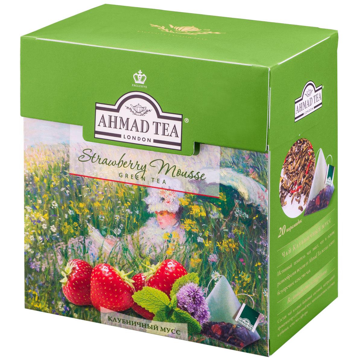 Ahmad Tea Strawberry Mousse зеленый чай в пирамидках, 20 шт1237Вкус композиции Ahmad Tea Strawberry Mousse открывает новые грани совершенства чая: благородный китайский зеленый чай раскрывается в букет с душистым клубничным ароматом и нотой мятной свежести.Заваривать 4-6 минут, температура воды 90°С.Всё о чае: сорта, факты, советы по выбору и употреблению. Статья OZON Гид
