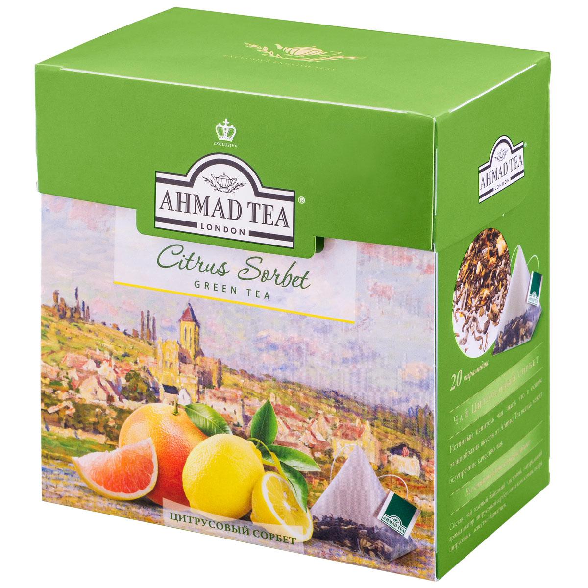 Ahmad Tea Citrus Sorbet зеленый чай в пирамидках, 20 шт1239Ahmad Tea Citrus Sorbet - изысканный, сложный букет, в котором вкус утонченного зеленого чая становится особенно выразителен в обрамлении грейпфрутовых и лимонно-мятных нот.Заваривать 4-6 минут, температура воды 90°.