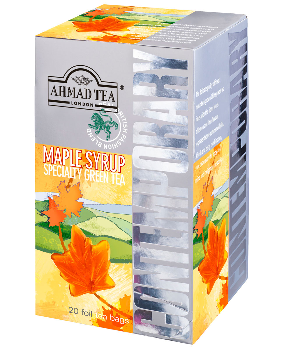 Ahmad Tea Maple Syrup зеленый чай в фольгированных пакетиках, 20 шт1399Терпкие сладковатые ноты зеленого чая Ahmad Tea Maple Syrup сопровождает шлейф орехового послевкусия. Кленовый сироп, традиционное канадское лакомство, в сочетании с зеленым чаем дарит чашечку золотистого настоя с чуть сладким, напоминающим карамель, вкусом.Всё о чае: сорта, факты, советы по выбору и употреблению. Статья OZON Гид