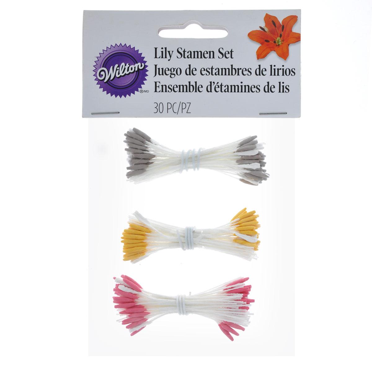 Набор тычинок Fleur Лилия, цвет: желтый, розовый, серый, 30 штWLT-1005-4451Набор Fleur Лилия состоит из декоративных тычинок лилий разного цвета. В наборе 3 цвета по 10 тычинок, выполненных из ткани. Тычинки используются в кондитерском творчестве при изготовлении съедобных цветов из глазури или мастики. Завершите ваши съедобные цветы такими натуральными на вид тычинками. <brДлина тычинок: 6 см.