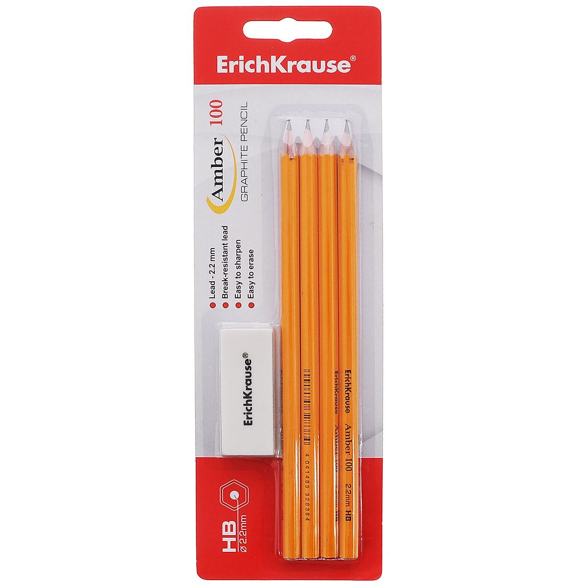 Карандаш чернографитный Erich Krause Amber, 4 шт + ластик32839Чернографитный карандаш Erich Krause Amber - идеальный инструмент для письма, рисования и черчения. Шестигранный корпус желтого цвета выполнен из натуральной древесины. Высококачественный ударопрочный грифель не крошится и не ломается при заточке. В набор входят 4 чернографитных заточенных карандаша твердостью НВ и ластик.