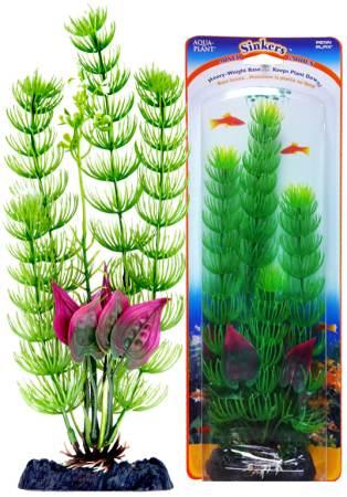 Растение-композиция Penn-Plax Flowering Cabomba-Malay Crip, высота 25 смP4GVLHПодводное искусственное растение-композиция для аквариума Penn-Plax Flowering Cabomba-Malay Crip - это композиция из двух растений на массивном основании, удерживающем ее на дне аквариума. Такая композиция радует глаз, а также может быть уютным убежищем для рыб и других обитателей аквариума. Пластиковое растение имеет устойчивое дно, которое не нуждается в дополнительном утяжелении и легко устанавливается в грунт. Композиция очень практична в использовании, имеет стойкую к воздействию воды окраску и не требует обременительного ухода. Ее можно легко достать и протереть тряпкой во время уборки аквариума. Растение-композиция из пластика создаст неповторимый дизайн пресноводного или морского аквариума.Высота растения: 25 см.