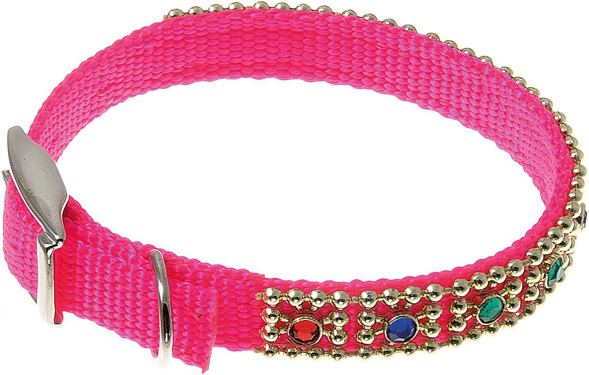 Ошейник со стразами Мини 12мм (20 -25см) (розовый) 70-099170-0991
