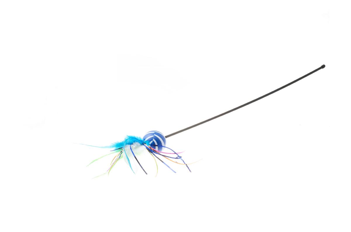 Дразнилка для кошек V.I.Pet, цвет: голубой, мультицвет. VG-100VG-100Занятная игрушка заинтересует на долгое время и котят, и взрослых кошек. Питомцы будут с азартом играть с дразнилкой, активно двигаться, что способствует их физическому развитию. К тому же, дразнилка спасёт ваши руки от царапин во время игры с кошкой. Цвет: фиолетовый.Материал: пластик, перья.