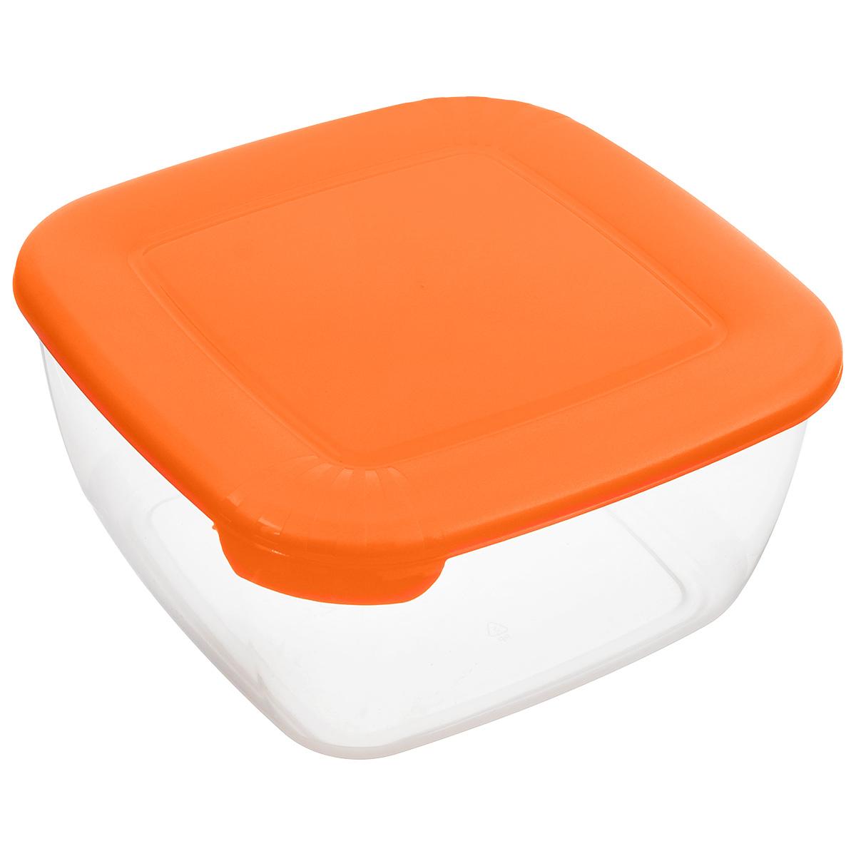Контейнер Полимербыт Лайт, цвет: оранжевый, прозрачный, 2,5 л контейнер полимербыт каскад цвет прозрачный сиреневый 1 л