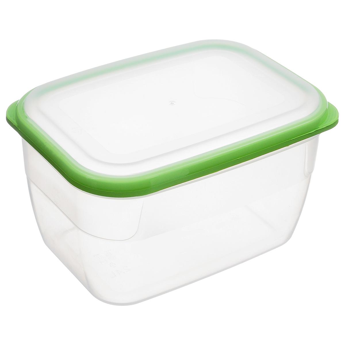 Контейнер Полимербыт Премиум, цвет: прозрачный, салатовый, 2,4 лС563_салатовый, прозрачныйКонтейнер Полимербыт Премиум прямоугольной формы, изготовленный из прочного пластика, предназначен специально для хранения пищевых продуктов. Крышка легко открывается и плотно закрывается.Контейнер устойчив к воздействию масел и жиров, легко моется. Прозрачные стенки позволяют видеть содержимое. Контейнер имеет возможность хранения продуктов глубокой заморозки, обладает высокой прочностью. Можно мыть в посудомоечной машине. Подходит для использования в микроволновых печах.