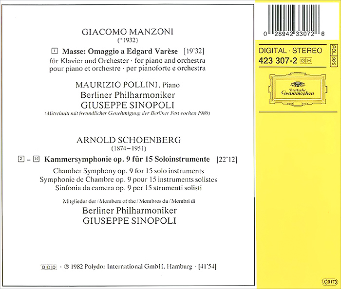 Maurizio Pollini.  Manzoni.  Masse:  Omaggio A Edgard Varese / Schoenberg.  Chamber Symphony Op.  9 ООО