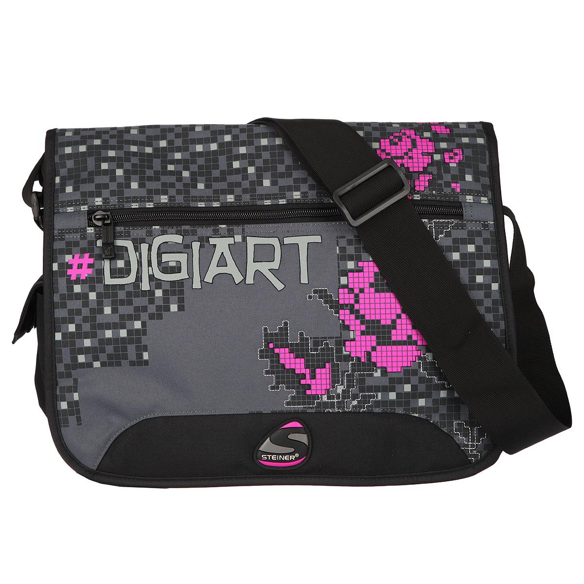 Сумка школьная Steiner Digiart, черный, серый, малиновый. 43135-505
