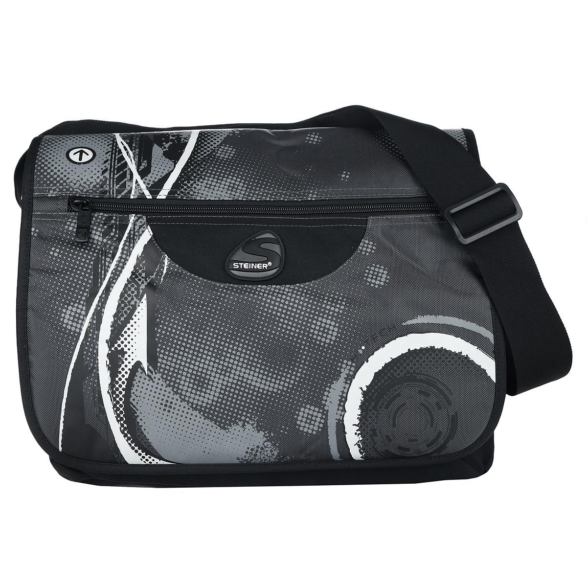 Steiner Сумка школьная черный серый11-211-143Практичная школьная сумка Steiner выполнена выполнен из современного пористого материала, отличающегося легкостью, долговечностью и повышенной влагостойкостью. Изделие оформлено принтом и дополнено брелоком в форме черепа.Сумка имеет одно основное отделение, которое закрывается на молнию и дополнительно закрывается хлястиком на липучки. Внутри главного отделения расположен нашитый карман на молнии. Снаружи, на лицевой стороне, расположен накладной карман на молнии, внутри которого размещен органайзер для письменных принадлежностей, состоящий из четырех накладных карманов. По бокам сумки размещены два дополнительных накладных кармана на резинках. На тыльной стороне сумки расположен накладной карман на молнии. С лицевой стороны расположен накладной карман на молнии.Многофункциональная школьная сумка Steiner станет незаменимым спутником вашего ребенка в походах за знаниями.