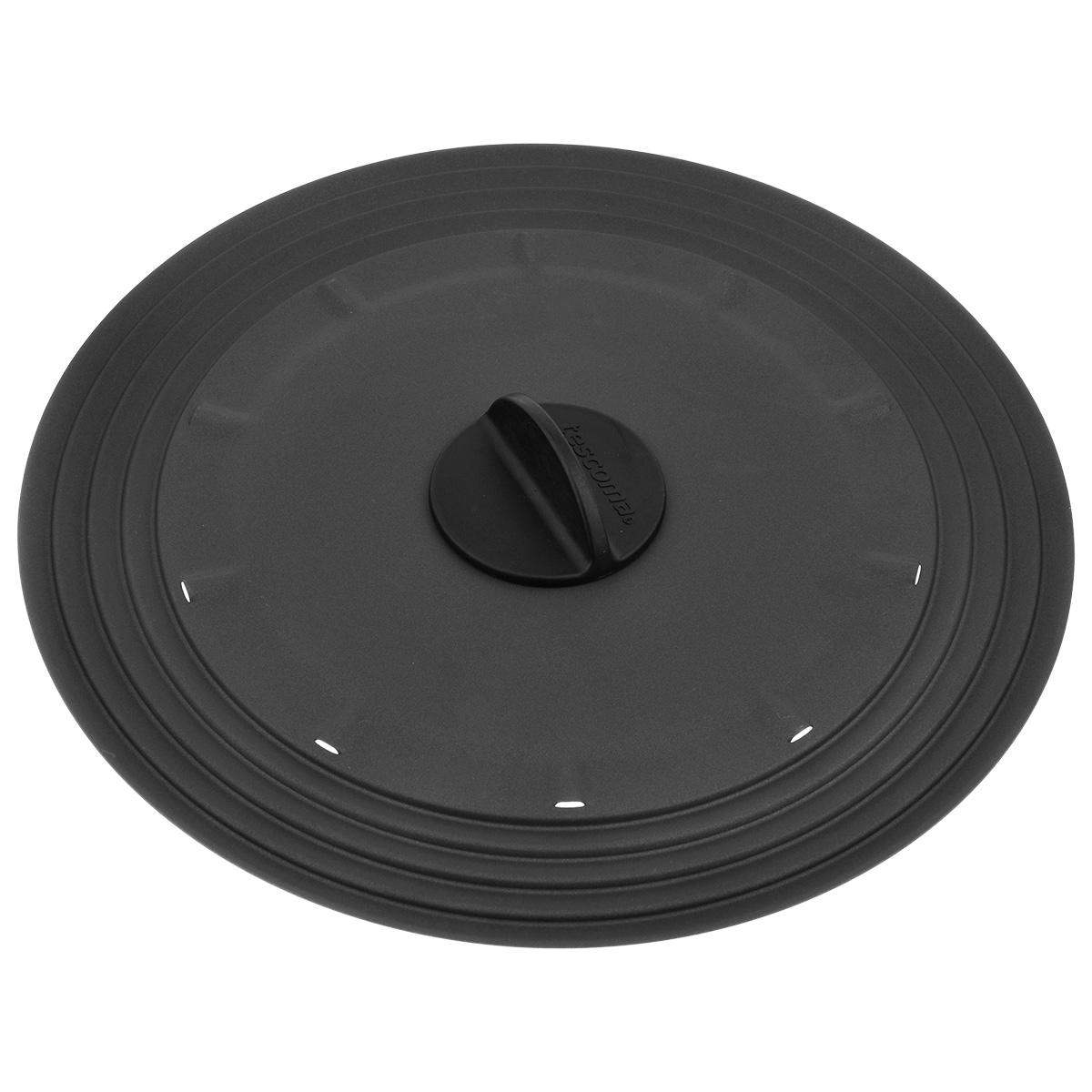 Крышка универсальная Tescoma Presto, для сковородок диаметром 26-30 см594954Крышка Tescoma Presto подходит в качестве универсальной крышки к сковородам диаметром 26-30 см. Изготовлена из огнеупорного нейлона с высококачественным антипригарным покрытием для легкой очистки. Имеет несколько отверстий для выхода пара. Ручка не нагревается.Можно мыть в посудомоечной машине.