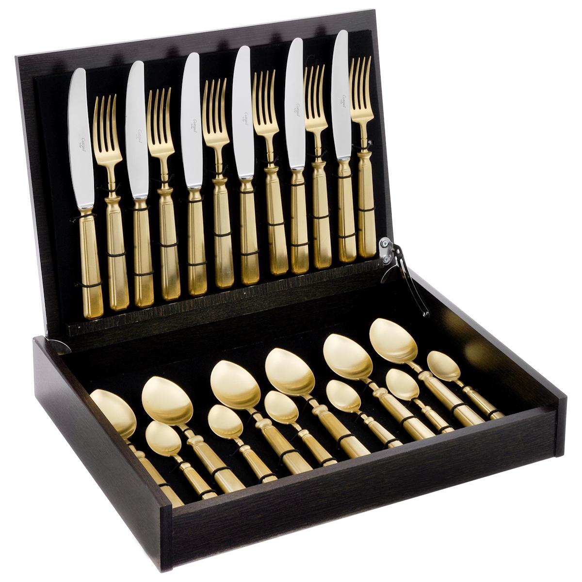Набор столовых приборов Cutipol Piccadilly, цвет: золотой, 24 предмета9142Набор столовых приборов Cutipol Piccadilly, изготовленный из высококачественной полированной нержавеющей стали, состоит из 6 вилок, 6 ножей, 6 столовых ложек и 6 чайных ложек. Качество столовых приборов во многом зависит от того материала, из которого они сделаны. Однако не менее важно и качество изготовления. Молекулярная структура нержавеющей хромоникелевой стали 18/10 (18% хрома, 10% никеля) с высокими гигиеническими показателями позволяет столовым приборам долго сохранять свой первоначальный внешний вид даже при интенсивном использовании и регулярном мытье. Отменный блеск всех изделий является результатом многоуровневого процесса технологической полировки. Благодаря этому приборы максимально долго остаются гладкими и блестящими. Все изделия имеют функциональную удобную форму. Набор выполнен с применением передовых технологий производства из высококлассных материалов и полностью соответствует самым строгим мировым стандартам в области безопасности и экологии. Изящные вилки, ложки и ножи достойны королевского стола. Эффектный внешний вид этих приборов в сочетании с надежностью, практичностью и удобством в эксплуатации понравится всем, кто ценит качество и стиль. Для приборов предусмотрена деревянная шкатулка. Внутренняя поверхность задрапирована черной бархатистой тканью, для каждого прибора имеется своя выемка. Длина вилки: 21 см.Длина ножа: 24 см.Длина лезвия ножа: 13 см.Длина столовой ложки: 20,5 см.Длина чайной ложки: 13 см.