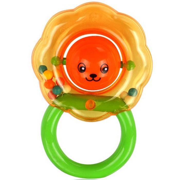 Игрушка-погремушка Малышарики Цветочек, цвет: зеленый, оранжевый малышарики мягкая игрушка нюшенька